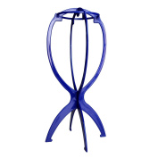 AStorePlus Folding Stable Wig Stand Hair Hat Cap Holder, 1 Pack Blue