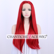 Chantiche Natural Straight Red Beautiful Looking Front Lace Wigs Heat Friendly Long Synthetic Hair Wig for Women Cosplay 60cm
