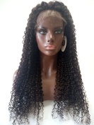 Royal-First Glueless Kinky Curly Lace Front Wig Brazilian Virgin Human Hair Wigs for Women 70cm Long #2 Dark Brown Colour 150% Density