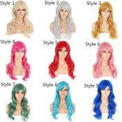 Life Diaries 150% Density Light Pink Colour Cosplay Body Wave Curly Synthetic Wigs For Women Heat Resistant Natural Hairline With Baby Hairs