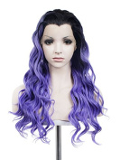 Lace Wig 70cm Long Curly Hair Synthetic Lace Front Wig Mixed Purple Wig