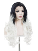 High Density 150-180% Lace Wig 70cm Wave Hair Synthetic Lace Front Wig Mixed White