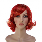 Aoert Synthetic Short Curly Wig Heat Resistant Cosplay Red Wigs for Women 36cm Side Part Wig