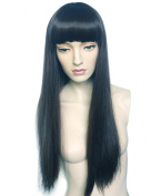 Namecute Long Straight Black Wigs for Women With Full Bangs Kanekalon Synthetic wig Free Wig Cap
