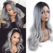 TLT Ombre Colour Black Root to Grey Curly Wig Heat Resistant Sythentic Cosplay Wig Full Wig for Women Party Wigs BU108