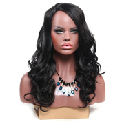 Secretgirl Women Long Wavy Wig Synthetic Black Hair Cosplay Party Daily Wig