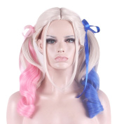 Rise World Wig 55cm Curly Beige Pink Blue Synthetic Hair Wigs With 2 Ponytails