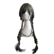 Rise World Wig 65cm Long Cosplay Synthtic Full Head Wig Grey With 2 Ponytails