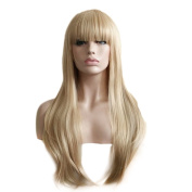 Rise World Wig 75cm Long Bob Flat Bangs Blonde Wavy Full Hair Wig Cosplay Party