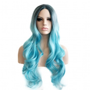 Rise World Wig 75cm Long Dark Roots Black to Light Blue Curly Ombre Wavy Wig