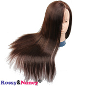 Rossy & Nancy Cosmetology Mannequin Manikin Training Head with Brown Synthetic Hair for Practise and Make Up