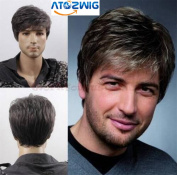 ATOZWIG@Quality Men Short Cool Lolita Black Grey Mix Wig Capless Caps Comb+Clip+Wig Cap