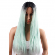 Netgo Mint Green Ombre Wig Black Roots Long Straight Synthetic Lace Full Wigs Ombre for Women