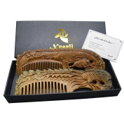 Xuanli®2 pcs Natural SandalWood Comb Hair Care Anti Static Wooden Hair Massage Natural Brush Beard Comb