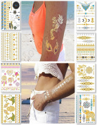 Temporary Metallic Tattoos for Women Teens Girls - 8 Sheets Gold Silver Temporary Tattoos Shimmer Tattoo Designs Jewellery Tattoos - 100+ Colour Flash Fake Waterproof Tattoo Stickers