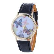 AMA(TM) Women Fashion Christmas Butterfly Pattern Leather Band Analogue Quartz Vogue Wrist Watch Xmas Gifts