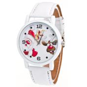 AMA(TM) Women Christmas Santa Claus and Elk Pattern Leather Band Analogue Quartz Vogue Wrist Watch