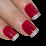Bling Art False Nails French Manicure Red for Danger Full Cover Medium Tips UK