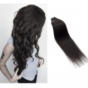 Myfashionhair Tape In Human Hair Extensions 41cm Natural Black 20pcs 30g Set Silky Straight Skin Weft real human remy hair pieces