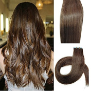 Myfashionhair Tape In Human Hair Extensions 60cm Chocolate Brown 20pcs 70g Set Silky Straight Skin Weft real human remy hair pieces