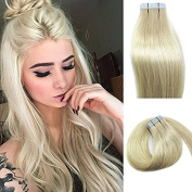 Myfashionhair Tape In Human Hair Extensions 50cm platinum blonde 20pcs 50g Set Silky Straight Skin Weft real human remy hair pieces