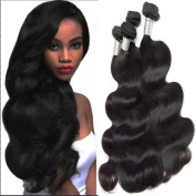 Lemoda Hair Brazilian Virgin Hair Body Wave Weft 7A Grade Black Colour Hair Extension Weave Human Hair 3 Bundles (100+/-5g)/bundle