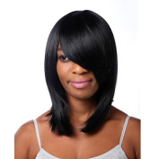 "16.5"" 42CM Women's Medium Long Straight Bob Wig Sythetic Jet Black 1B# with Side Bangs"