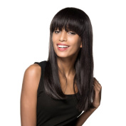 MAYSU Extra Long Straight Wigs with Neat Bangs Real Human Hair Wigs for Black Women Jet Black