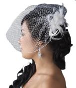 Valeriya Feather Fascinator with Birdcage Veil