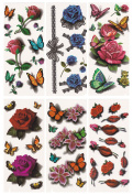 Tato Fashion 3D Body Art Temporary Tattoo Stickers 6 Different Sheets Flower