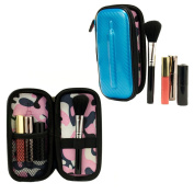 Travel Makeup Cosmetic Bag Case Organiser with brush holder- Stila Blue