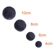 Paxcoo 300pcs Black Lava Stone Round Loose Beads with Free Crystal String for Jewellery Making