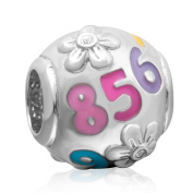 ChaWin Colourful Number Lucky Charm 925 Sterling Silver Enamel Accents Bead Fit European Bracelet Snake Chain