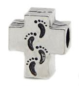 Cherityne Footprints on Cross Silver Plated Charm Bead for Snake Chain Bracelet