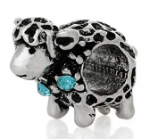 Cherityne Lamb/Sheep with Aquamarine Crystals Silver Plated Charm Bead for Snake Chain Bracelet