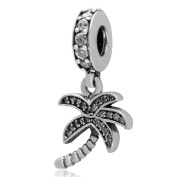 Sparkling Palm Tree Charm 925 Sterling Silver Memory Bead Vocation Charm for 3mm Pandora Bracelet