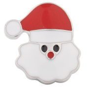 "Chunk Snap Charm Santa Claus Face Red and Clear Enamel 20mm 3/4"" Diameter"