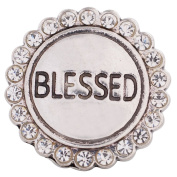 "Chunk Snap Charm Blessed Clear Rhinestone Border 20mm 3/4"" Diameter"