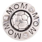 "Chunk Snap Charm Soccer Mom and Soccer Balll 20 mm 3/4"" Diameter"