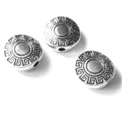 Heather's cf 60 Pieces Silver Tone Pattern Flat Beads Findings Jewellery Making 10X3mm