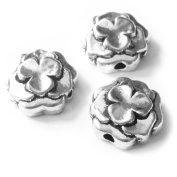 Heather's cf 55 Pieces Silver Tone Flowers Flat Beads Findings Jewellery Making 10X4mm