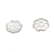 100PCs Stainless Steel Silver Tone Flower Bead Caps 6mm