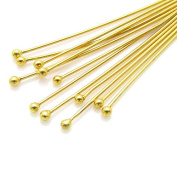Beadthoven 50pcs Golden Plated Brass Ball Headpins, DIY Jewellery Necklace Beading Making, Size
