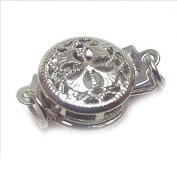 SR BGSJJewelry Necklace Making Design DIY White Gold Plated Hollow Flower Fillgree Box Clasp 9mm 10 Pcs
