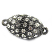 SR BGSJJewelry Necklace Making Craft Black Rhinestone Inlayed Magnetic Olive Clasp 12x26mm 5 Pcs