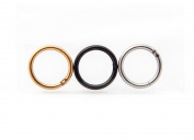 Septum Ring Piercings 16G Set of 3 Hinged Nose Rings in Black, Gold & Silver