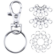 Ninetonine Swivel Clasps Lanyard Snap Hook Lobster Claw Clasp and Keychain Rings, total 90 Pieces