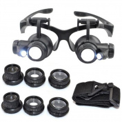 JIEPING 10X 15X 20X 25X Magnifier Magnifying Eye Glasses Loupe LED Jeweller Watch Repair