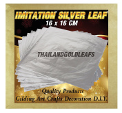x100 Imitation Silver leaf Sheets Largest size 16 x 16 CM Crafts Gilding Nail Art Decoration Party D.I.Y. by THAILANDGOLDLEAFS