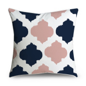 FabricMCC Pink and Navy Moroccan Quatrefoil Pattern Square Accent Decorative Throw Pillow Case Cushion Cover 18x18